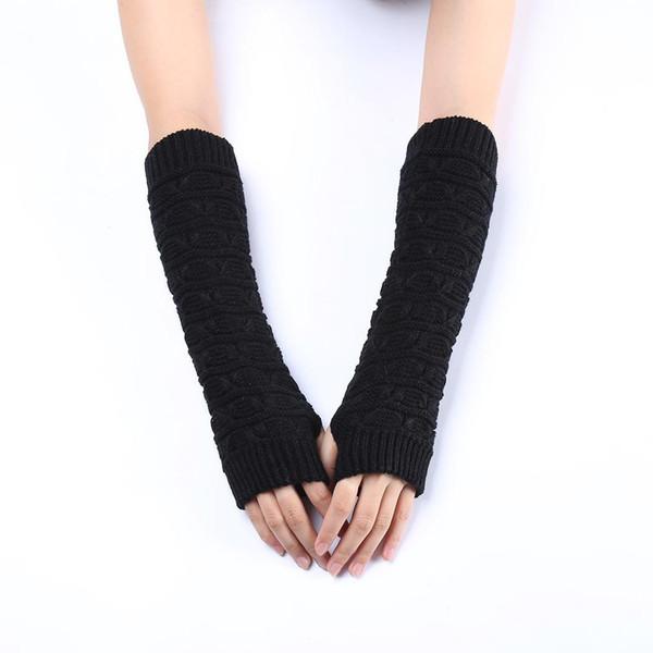 Guantes Mujer Mittens Gloves Women Knitted Arm Fashion Hand Warmer Winter Gloves Women Crochet Knitting Faux Wool Mitten W