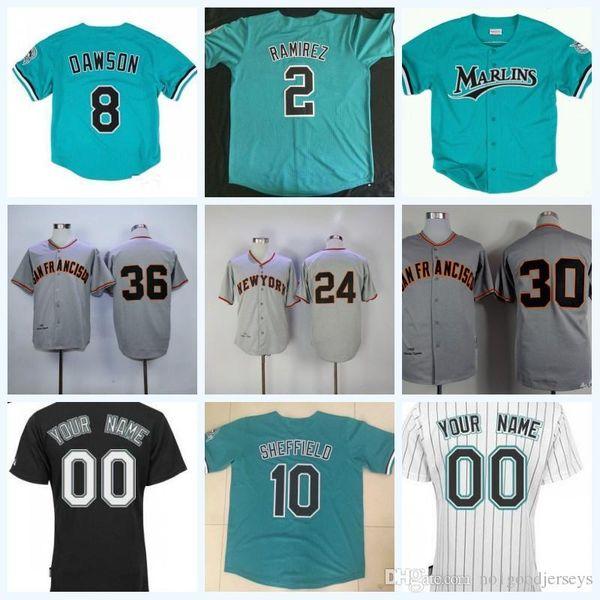 a29b92f9f Dawson SHEFFIELD Giancarlo Stanton Miguel Cabrera Dontrelle Willis 2 Hanley  Ramirez Baseball Jersey S-XXXL