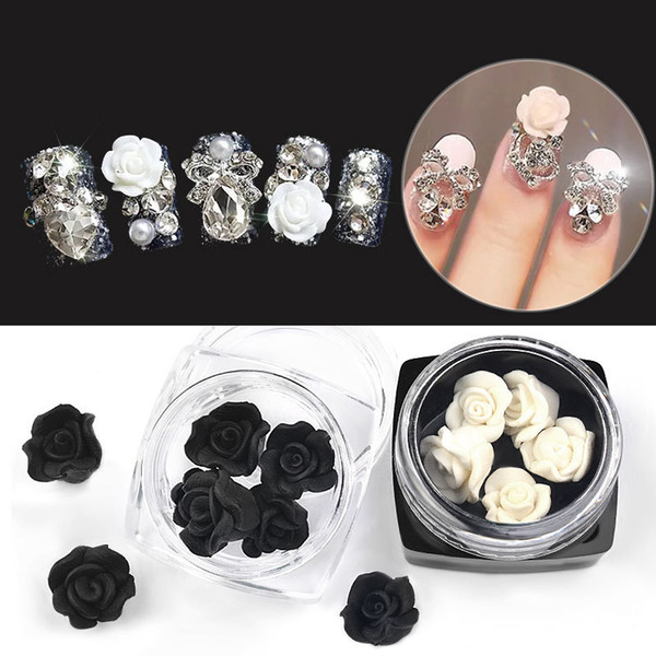 5pcs/lot Nail Art Decorations Soft Pottery Rose Flowers Black White Petal Handmade Carved Finished Nails Jewelry Accessories