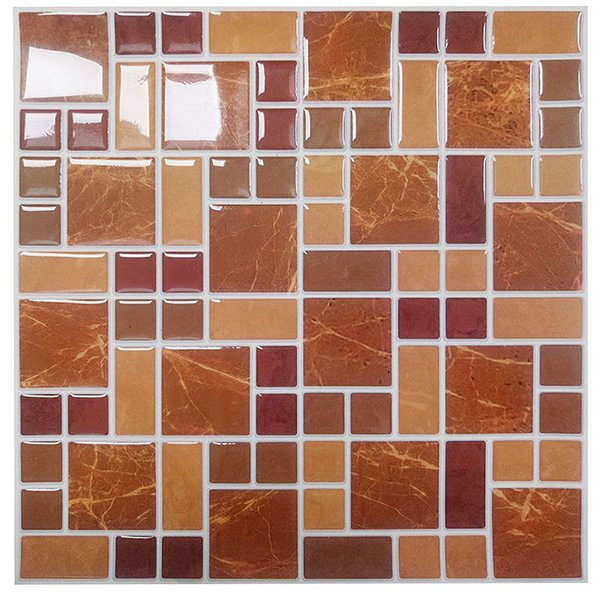 Wholesale-Wootile Mosaic Wall Tiles Peel and Stick Backsplash for Kitchen,Bathroom Pack of 6 Vinyl Wall Tiles