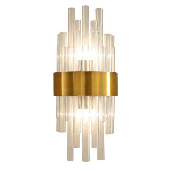 Applique nordique cristal K9 Applique Murale Or Couleur Foyer Salon Chambre Chevet Applique Murale Applique Luxe 2 x E14 lampe
