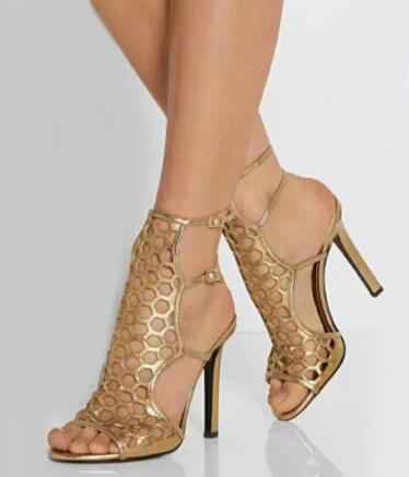 Gold Stiletto High Heel Ankle Strap Sandals for Sale