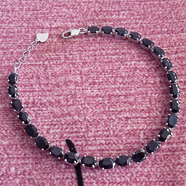 New arrive natural sapphire chain bracelets, black sapphire jewelry with 925 silver link bracelet for woman