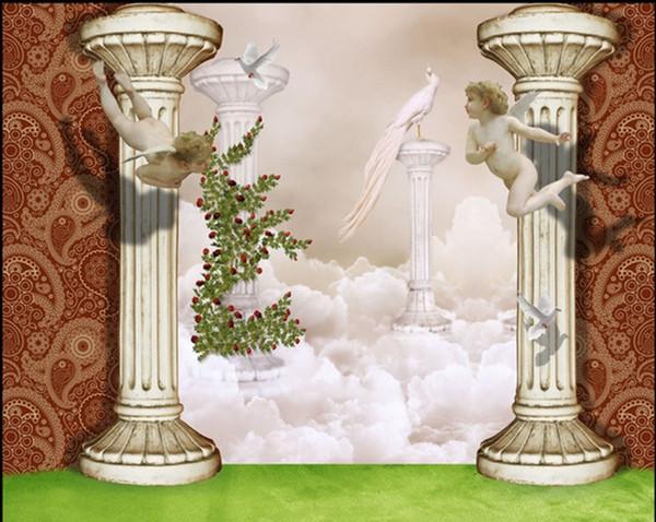 3D Stereo Engel Rom Spalte Fantasy Tapete Wandbild benutzerdefinierte Esszimmer Kinderzimmer Tapete Hintergrund Wandbild