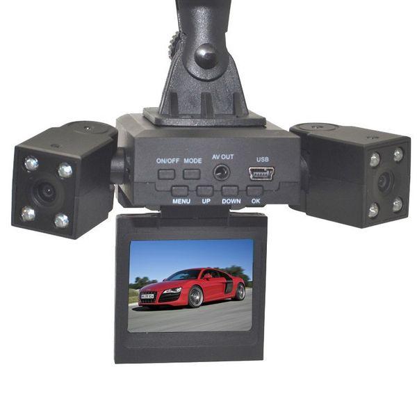 H3000 Car DVR Total 8-LED IR visión nocturna Soporte Detección de movimiento Grabación de bucle With180 rotar grados Dual Lens