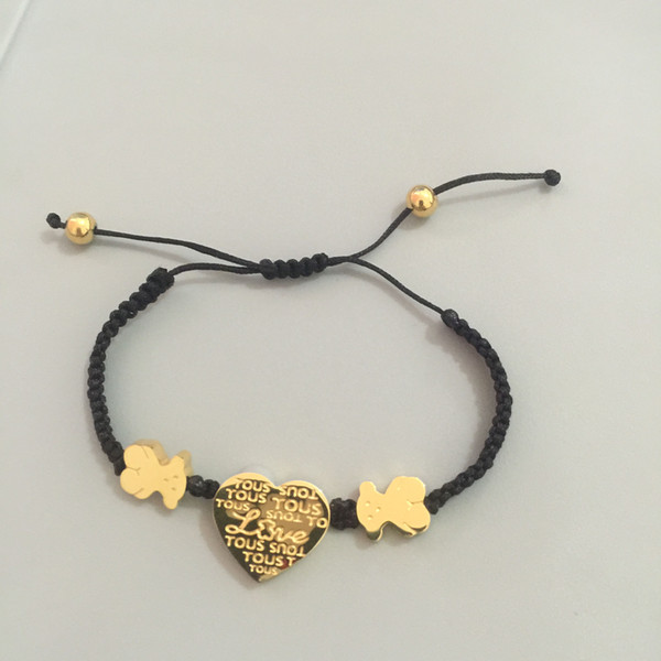 2018 New Arrivals Factory wholesale 18k gold charms bracelet bear style macrame black cords braiding Charm Jewelry Never Fade 3 colors