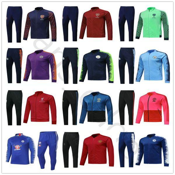 18 19 Premier League Arsenal Hot Spur Home Away Soccer Tracksuit Set Man United Men City Football Jacket Training Suit