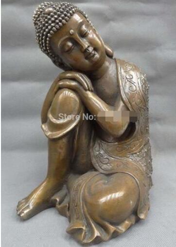 """10"""" Tibet Bronze Copper Buddhist Sleep Sakyamuni Joss Shakyamuni Buddha Statue fast"""
