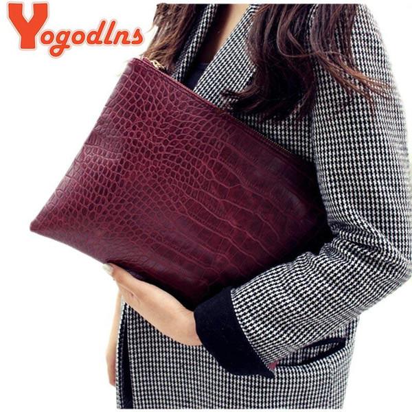 Yogodlns Moda timsah tahıl kadın debriyaj çanta deri kadın zarf çanta debriyaj akşam çanta kadın Manşonlar Çanta