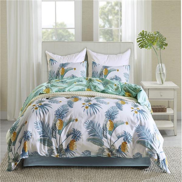 Light Green Leaf Pattern Bedding Set USA Queen King Tiwn Size Bed Linen 2/3Pcs/Set Duvet Cover Set Quilt Cover Bedding Bag Soft
