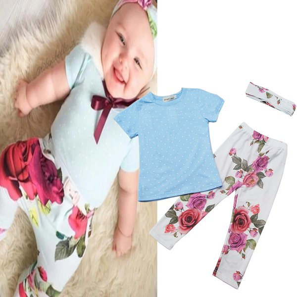 2018 Baby Girl Clothing Set Kids Toddler Outfit Boutique Clothes Suit Black Shirt Shorts Pants Headband Summer Tracksuit Playsuit