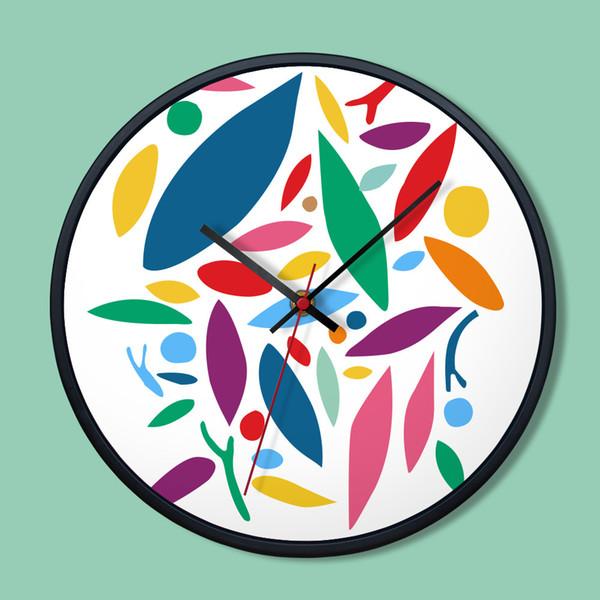 "Still Life Painting Creative Home Decoration Wall Clocks Metal Living Room Glass Round Modern 12"" Wall Clock Quartz Movement"