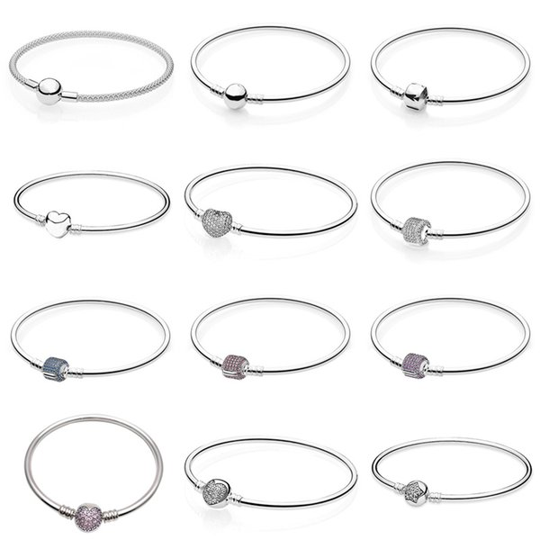 Pave Barrel Love Heart Clasp Bangle MOMENTS Mesh Bangle Fit Europe Snake Chain Bracelet 925 Sterling Silver Bead Charm Jewelry