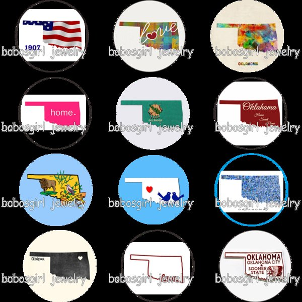 USA US states oklahoma home love glass art Snap button Charm Popfor Snap Jewelry good quality picture pendant GS9775