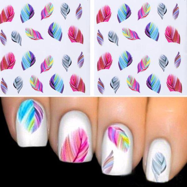 TOMTOSH 1 PZ ashionable Nail Decorazioni Art Tips Piuma Acqua Trasferimenti Nail Sticker per Le Signore Piume Decalcomanie strumenti di arte
