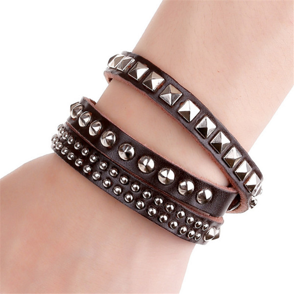 New Fashion Multi-layer Button Rivets Leather Bracelet Brown Punk Long Wristband Snap Fastener Jewelry Accessory Birthday Gifts Wholesale