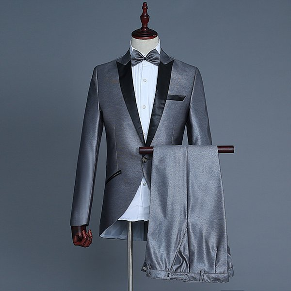 Three Colors Magician Stage Performance Suits Blazer Nightclub Slim Fit Small tuxedo Suit Jacket Pants Costumes M-XL(Bow Tie)