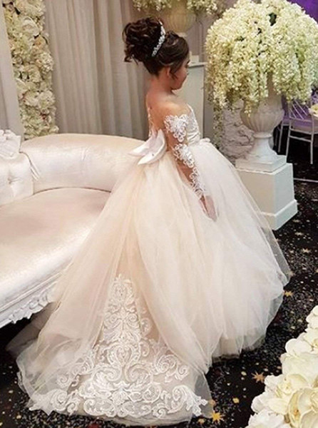 Flower Girl's Dresses For Wedding Junior Bridesmaid Vintage Kids Evening Party Gown Formal