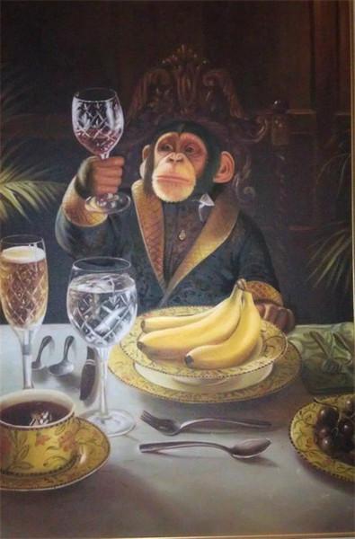 Monos enmarcadas beber café y el vino pintado a mano decoración de la pared del extracto del arte animal en múltiples lienzo Tamaños disponibles FK25 #