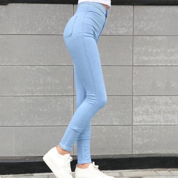 Women Skinny Elastic Stretch Jeans 2018 Girls High Waist Plus Size Pencil Pants Female Vintage Slim Trouser Ladies Straight Pant