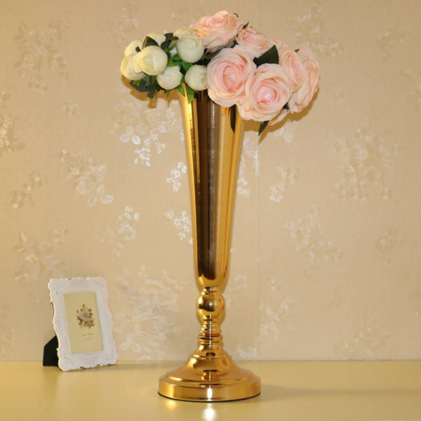 Wedding Decoration Gold Floor Vase Metal Flower Vase Table Centerpiece For Mariage Anniversary Party Accessories 40cm 57cm Tall