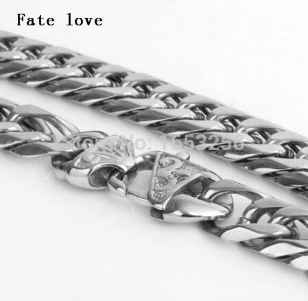 Fate love 18''-40'' 12mm High Quality Never Fade Stainless Steel Men Biker Solid Cuban Link Chain Curb Necklace Fashion Jewelry