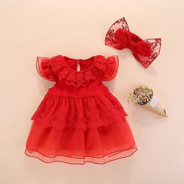 Baby girls dresses clothing 2pcs Summer girls princess dress tutu bowknot toddler clothes pink lace dress for a full moon birthday gift