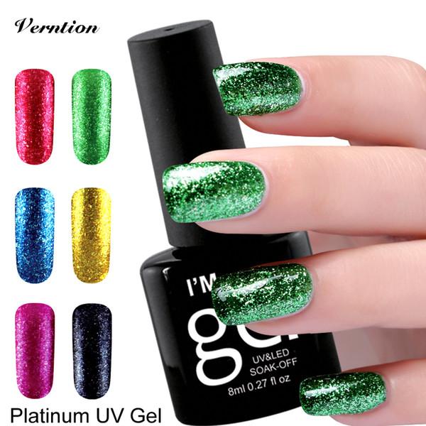 Verntion Shimmer Platinum Gel Polish Fashion 12 Glitter Colors Semi Permanent UV Nail Polish Gorgeous Colored Gel Lacquer