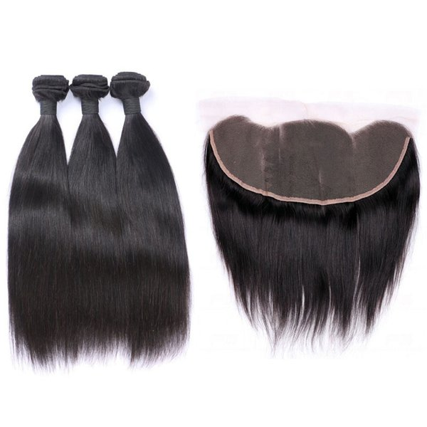 13*4 Lace Frontal Closure With Malaysian Virgin Hair Bundles Cheap Straight Unprocessed Human Hair Weaves With Ear To Ear Lace Closure