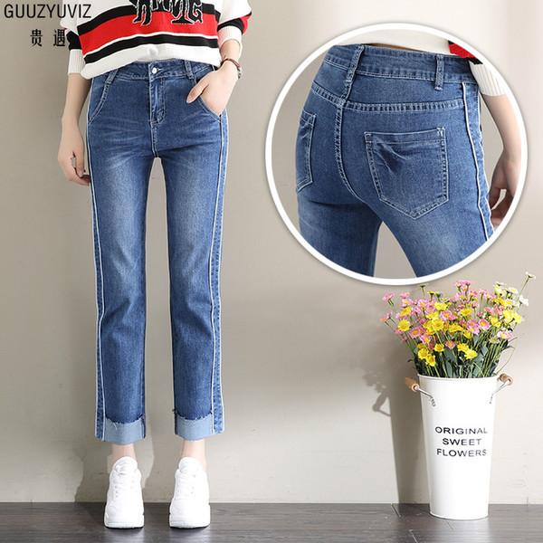 GUUZYUVIZ Otoño Invierno Parche Work Jeans Mujer Algodón Casual Cintura Alta Tallas Grandes Denim Washed Vintage Pantalones de Pierna Ancha Mujer