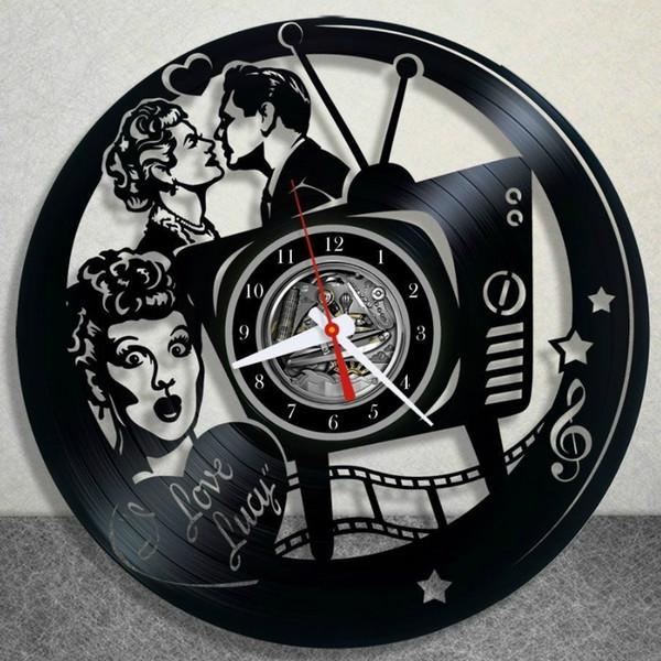 Я люблю Люси виниловые настенные часы Vintage Home Decor Fashion Room Decoration Wall Art Clock (размер: 12 дюймов, цвет: черный)