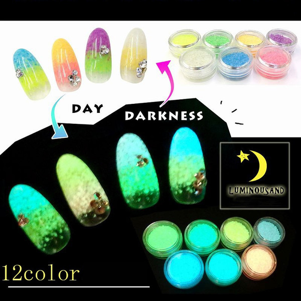 top popular Japanese Luminous Drift Sand Powder Dust Phototherapy Nail Art Decoration Glitter Glow Nails Beauty Salon Product 2020