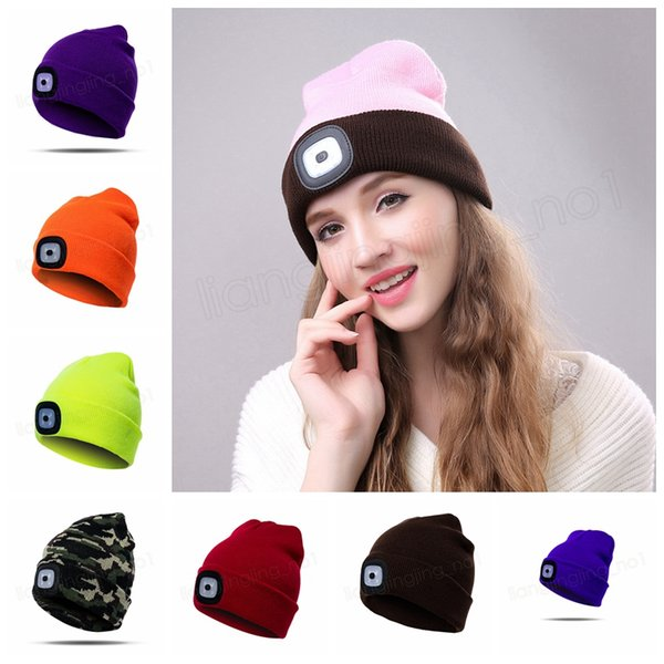 17Colors LED Light Hat Battery Type Winter Beanies Fishing Camping Cap Knitted Hat Camping Outdoor Crochet caps Hats GGA1016