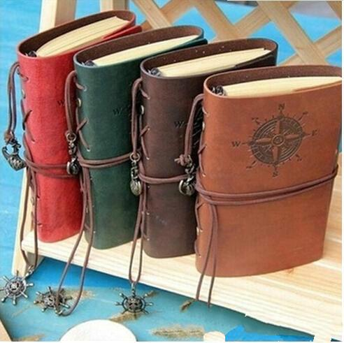 2018 New Fashion Vintage Diary Notebook Pirate Anchor Decor Traveler's Note Books Notepad Planner PU Leather Cover Blank Notebooks Kids Gift