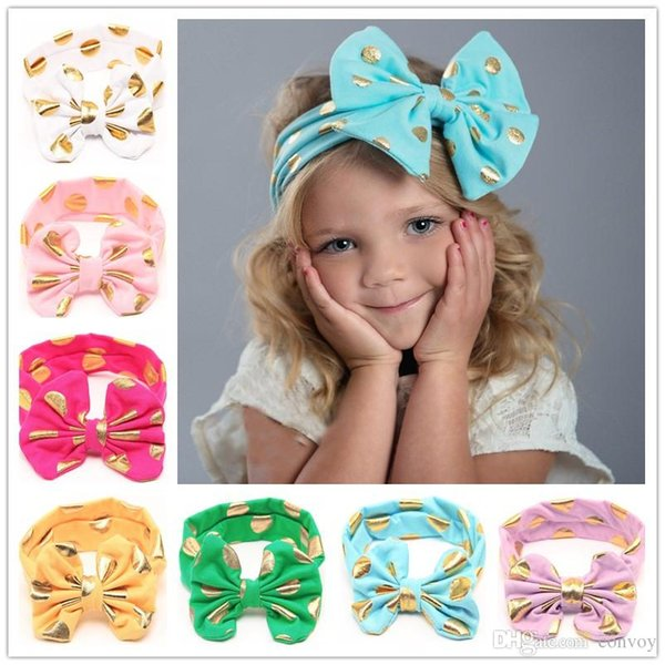 Baby Girls Lovely cute Gold Dot Headbands Kids Big Wide Knotted Bow Head bands Children Infant Hair Accessories Head Wear 12 colors KHA253