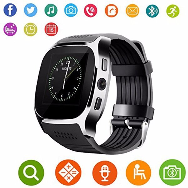 T8 Bluetooth Smart Watch Support SIM TF Card LBS Locating With 0.3MP Camera Smartwatch Sports Wristwatch For Android