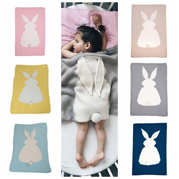6 Colors 105*75cm Baby Blankets INS Rabbit Ear Swaddling Knitted Animal Bedding Toddler Fashion Swaddle Newborn Bunny Blanket CCA8602 10pcs