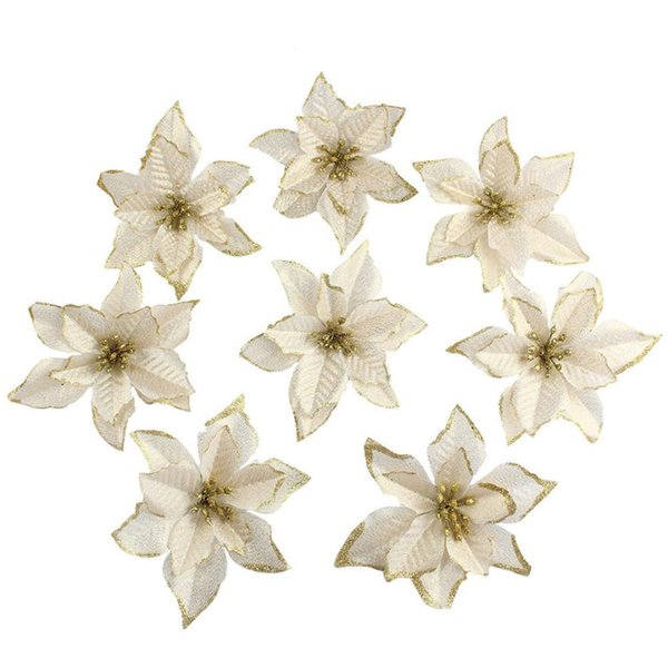 Glitter Artificial Flowers Christmas Tree Ornaments 10Pcs/Set Festive Party New Year Christmas Decorations For Home Navidad