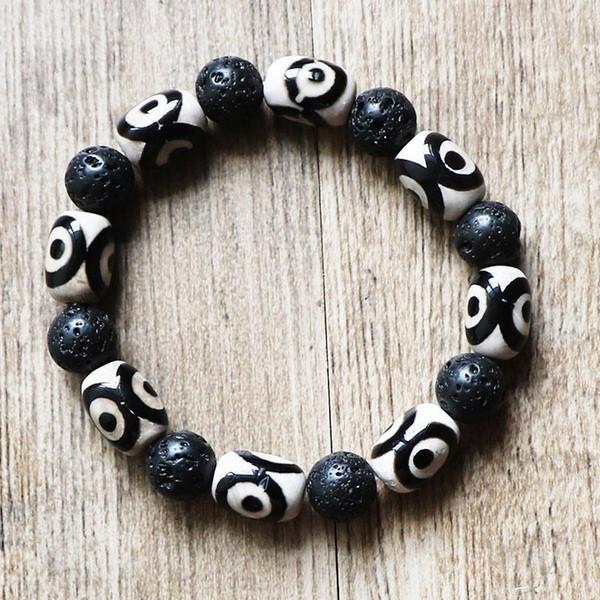 Bracciale unisex elastico perline Energia Tibet Dzi Bracciale perline 10mm naturale lava lavica perline in pietra per uomo