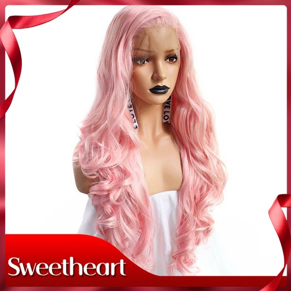 Sweetheart Sexy New Style High Temperature Fiber Hair Cosplay Wigs Wavy Long Pink Deep Wave Hair Synthetic Lace Front Wig For Women Cosplay