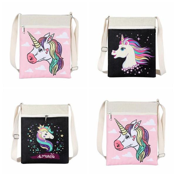 3 cores unicórnio crianças dos desenhos animados saco de lona crossbody único saco de ombro bolsa de bebê mini saco bonito unicórnio bolsas cca9331 20 pcs