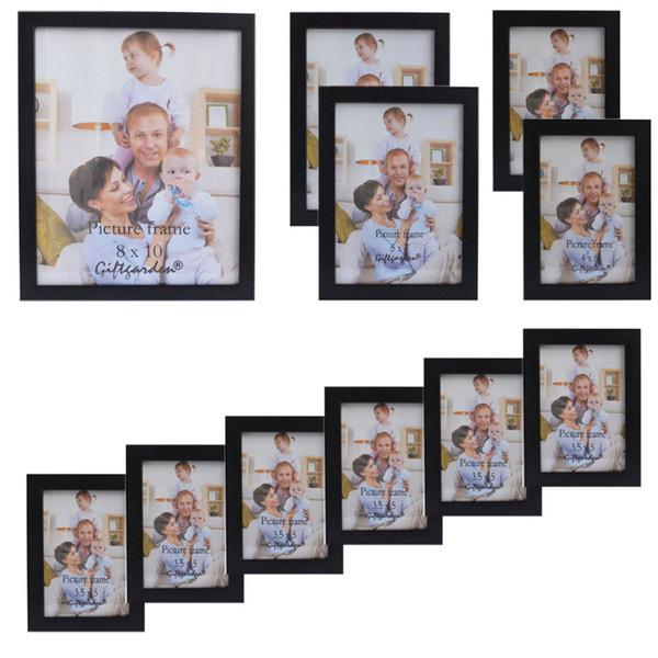 Geschenkgarten Holz Bilderrahmen schwarz Bilderrahmen für Wohnzimmer Rahmen für Bild und Poster, Set von 11 PVC-Abdeckung vorne