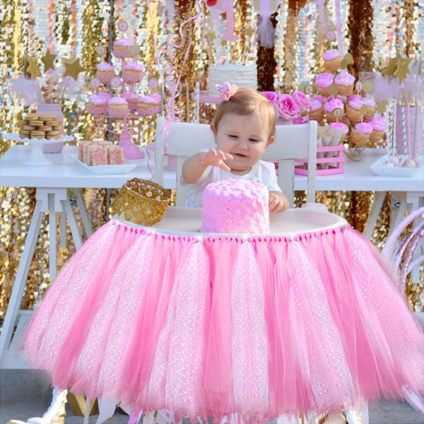 Baby Shower Boy Party Set Tutu Tull Skirt For High Chair Baby Shower Decorations For A Girl 1st Birthday Decoration Blue Pink