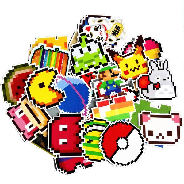 Acheter Dessin Animé Super Mario Pixel Style Autocollant Pour Voiture Ordinateur Portable Bagagerie Skateboard Sac à Dos Tableaux Cas Decal Enfants