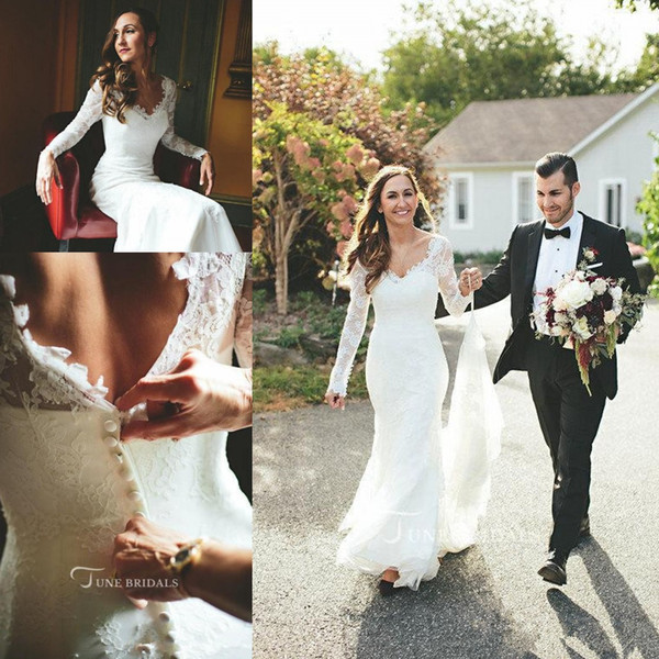 Country Wedding Dresses V Neck Lace Long Sleeves Appliqued Sweep Train Boho Bridal Dresses Cheap Mermaid Wedding Gowns Trumpet Dress
