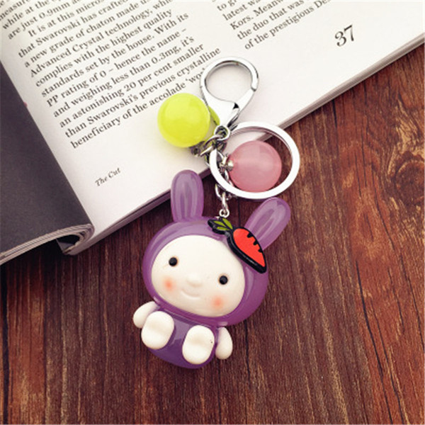 Creative Candy Color Simulation Rabbit Keychain 3-D Cartoon Keyrings Car Bag Accessories