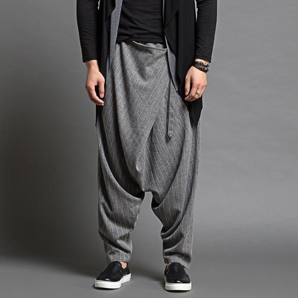 Casual Dancer Brand Hombres pantalones caídos Harem Pantalon Hommes Men fino sueltos pantalones Harem Hombres Fashion Design Baggy Trousers