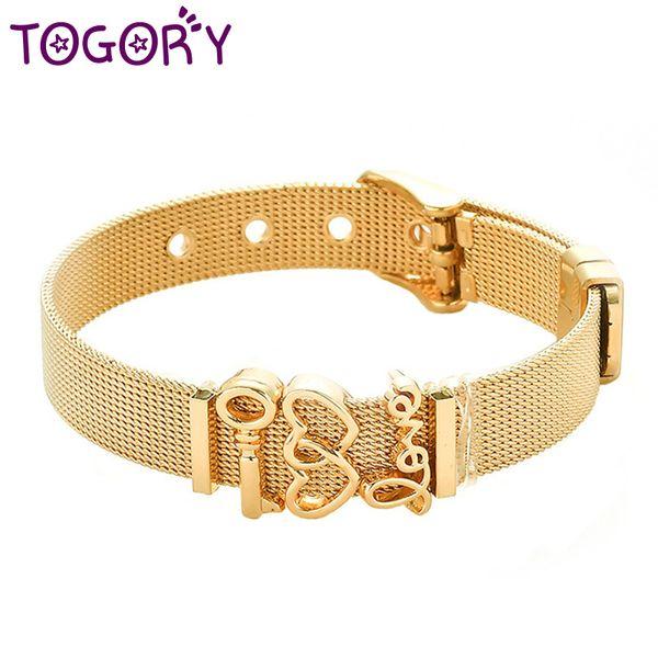 Simple Couple Heart Fine Bracelet Stainless Steel Mesh Bracelet Adjustable Belt Buckle for Women Men Charm Jewelry