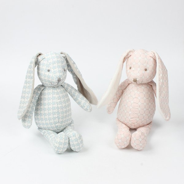 Plush Baby Toys Infant Educational Comforter Toy Printed Soft Cotton Stuffed Animals Rabbit for Newborn Kids Christmas Gift 30cm