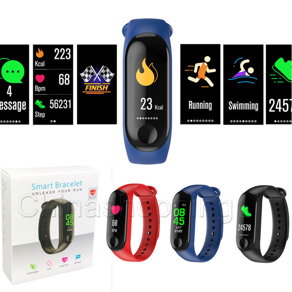 top popular M3 Smart Bracelet fitness tracker Heart Rate Blood pressure Pedometer Handband Call Reminder Sports Waterproof Smart Band For iOS Android 2020